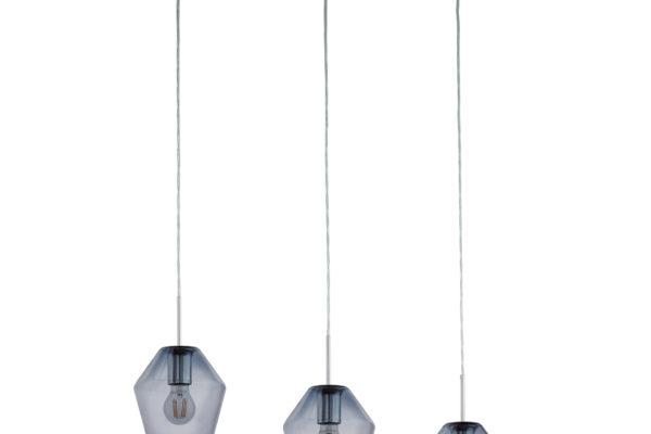 96774 Подвес MURMILLO, 3х28W (E27), L770, B170, H1500, сталь, хром/дымчатое стекло купить в салоне-студии мебели Барселона mnogospalen.ru много спален мебель Италии классические современные